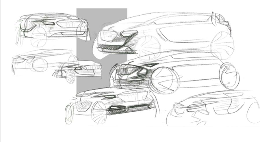 红旗纯电动SUV设计草图曝光 整体造型运动