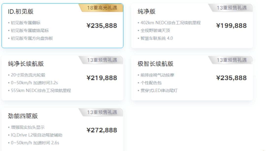 补贴后售价19.9888万元起 大众ID.4 X公布售价