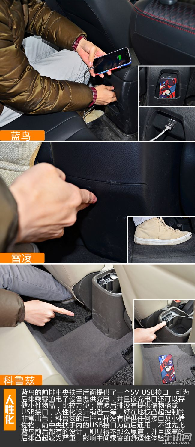 蓝鸟的前排中央扶手后面提供了一个5V USB接口,可为后排乘客的电子设备提供充电,并且该充电口还可以存储小件物品,比较方便;雷凌后排没有提供储物格或USB接口,人性化设计稍逊一筹,好在地板凸起控制的非常出色;科鲁兹的后排同样没有提供任何接口及小储物格,前中央扶手内的USB接口为前后通用,不过先比蓝鸟前后都有的设计,则显得不那么厚道,并且该车的后排凸起较为严重,影响中间乘客的舒适性体验。   ♦编辑总结:   总的来说,经过三天的长时间接触,小编对这三款车均进行了深入体验,蓝鸟作为日产的全