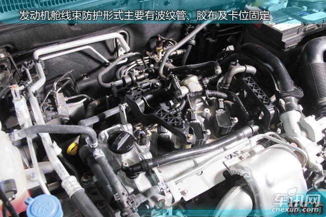 发动机舱线束主要防护措施有波纹管+胶布缠裹,还有较为密集的卡位