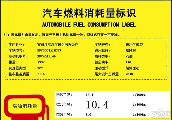 江淮瑞风M6动力参数曝光 搭载2.0T发动机