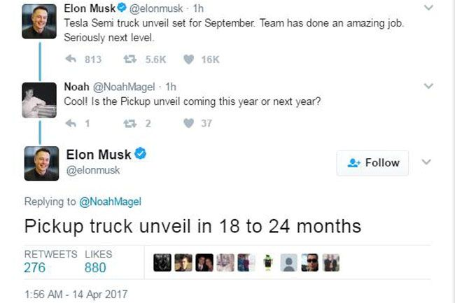 马斯克宣布特斯拉将于今年9月发布电动卡车