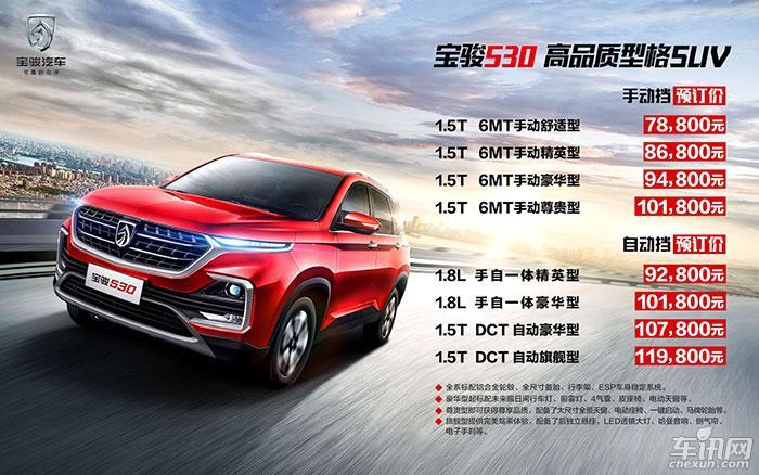 宝骏530预售7.88-11.98万元 2018年3月上市
