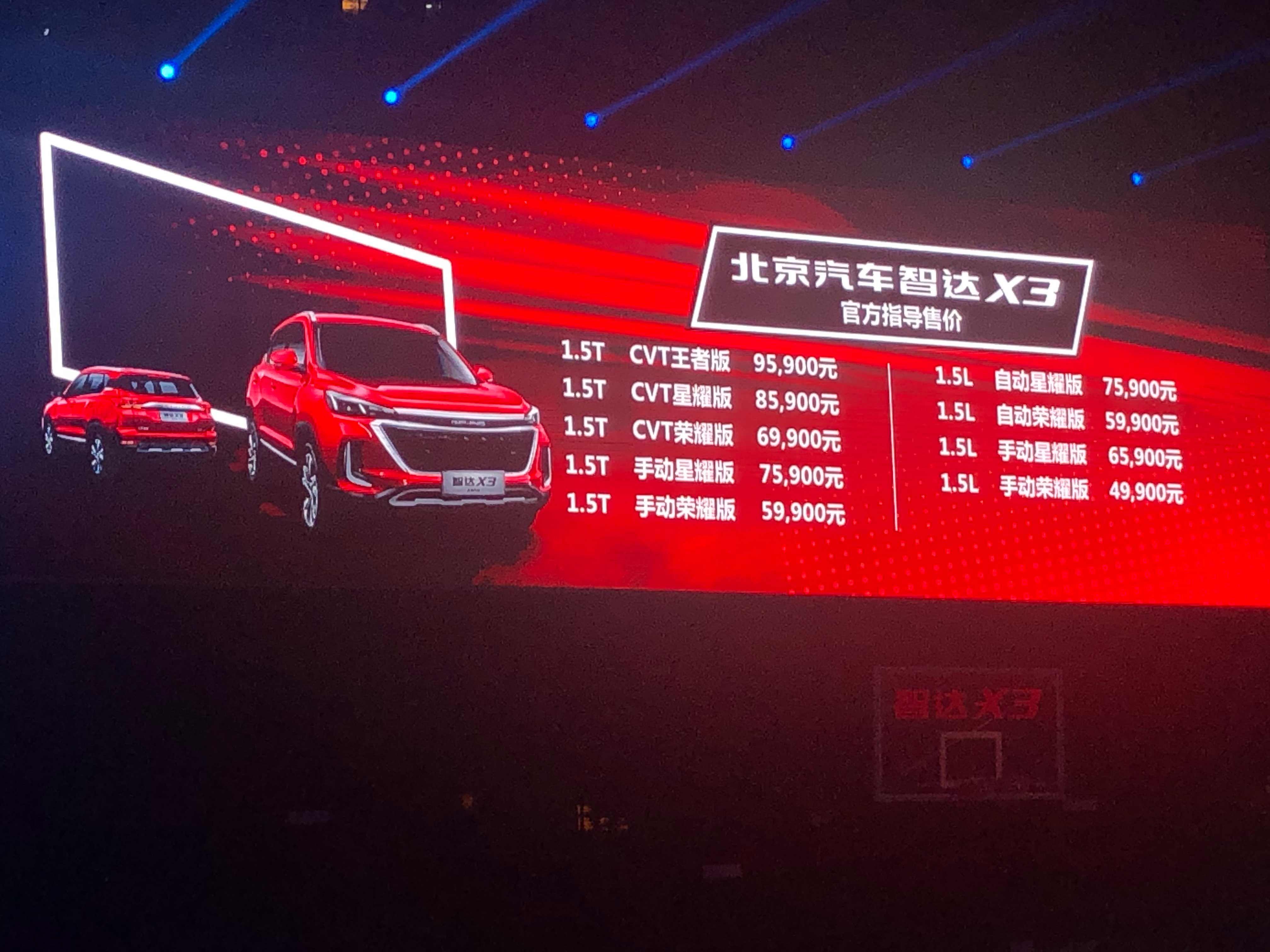 4.99万元起售 北京汽车智达X3正式上市